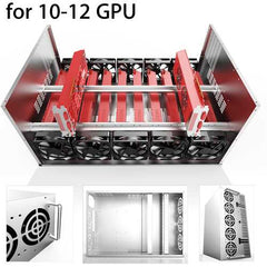 SECC Mining Rig Frame Mining Miner Case Supports for 10-12 GPU Graphics Card 73x51x39cm