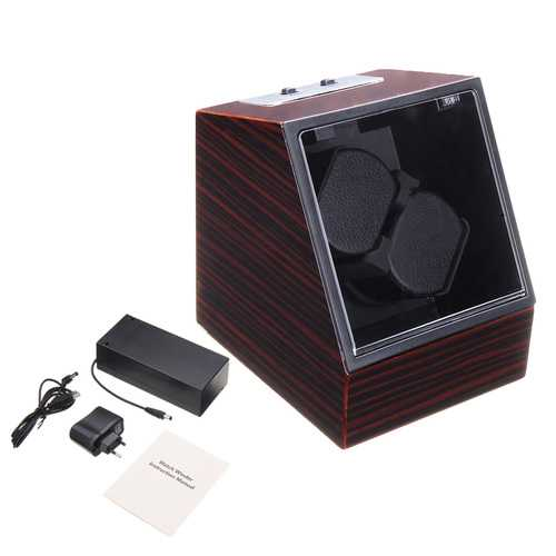 Automatic Watch Winder Display Box Auto Silent Motor 2 Watches Wind Storage Case EU Plug