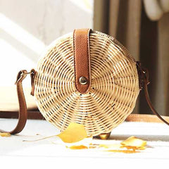 Women Rattan Bag Casual Crossbody Bag Round Beach Bag