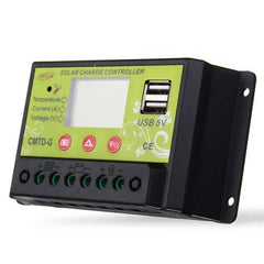 CMTD-G 10A 12V/24V LCD PWM Solar Charge Controller Dual USB Solar Panel Battery Regulator