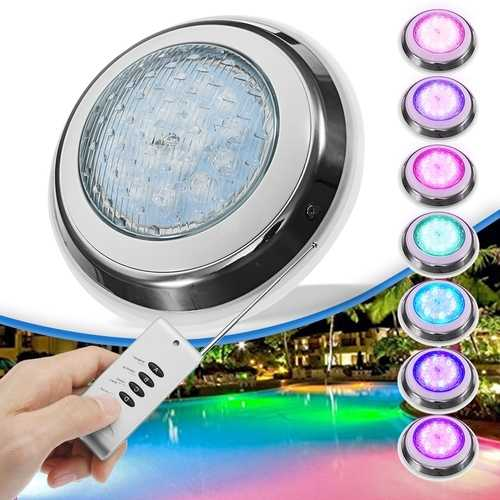 54W RGB Remote Control LED Swimming Pool Light Underwater Waterproof Wall Mounted Night Light