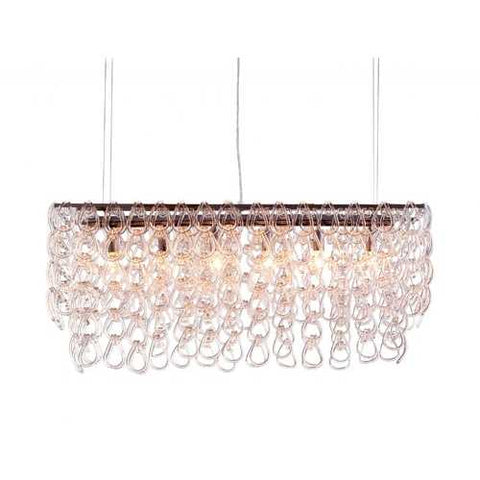 "36.6"" x 10"" x 17"" Clear, Glass, Chrome, Stream Ceiling Lamp"