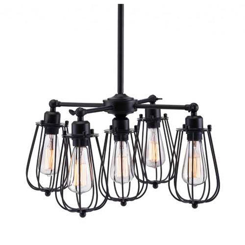 "21.7"" x 21.7"" x 61.4"" Distressed Black, Metal, Ceiling Lamp"