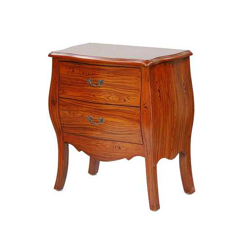 "30"" Mahogany Veneer Wood Bombay Cabinet with 2 Drawers"