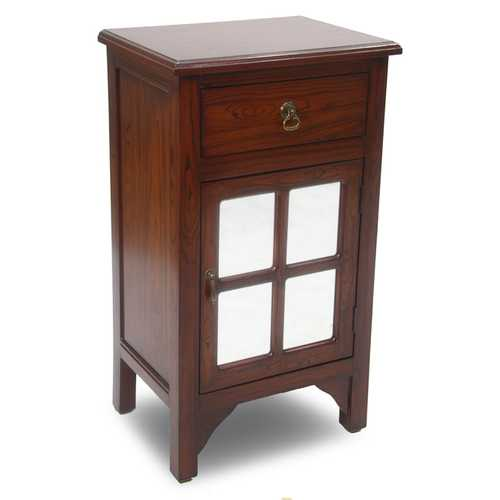 "30"" Mahogany Veneer Wood Mirrored Glass Accent Cabinet with a Drawer and a Door"