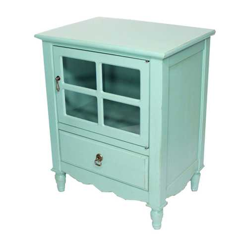 Turquoise Wood Clear Glass Accent Cabinet with a Drawer, a Door & Paned Inserts