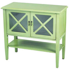 "30"" Apple Green Wood Clear Glass Console Cabinet with 2 Doors and a Shelf"