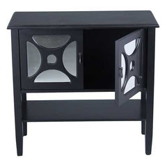 Black Wood Mirrored Glass Console Cabinet with 2 Doors, a Shelf and Link Inserts
