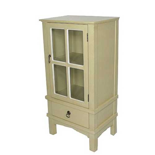 Beige Wood Clear Glass Accent Cabinet with a Door, a Drawer and Paned Inserts