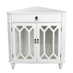 "32"" Antique White Wood Clear Glass Corner Cabinet with a Drawer and 2 Doors"