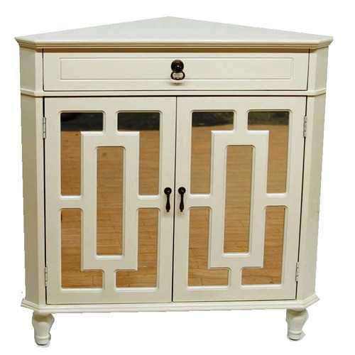 "32"" Antique White Wood Mirrored Glass Corner Cabinet with a Drawer and 2 Doors"