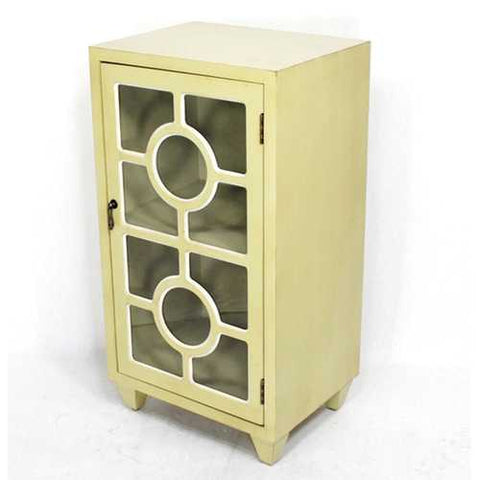 "31"" Beige Wood Clear Glass Accent Cabinet with a Door and Lattice Inserts"