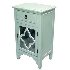 "30"" Light Blue Wood Clear Glass Accent Cabinet with a Drawer and a Door"