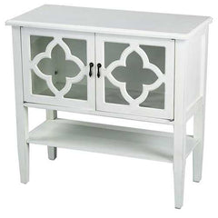 "30"" Antique White Wood Clear Glass Console Cabinet with 2 Doors and a Shelf"
