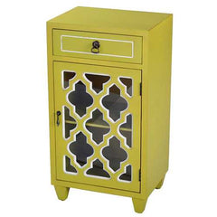 Yellow Wood Clear Glass Accent Cabinet with a Drawer, a Door & Arabesque Inserts