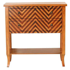 "33"" Woodgran Chevron Wood Console Table with a Shelf and 2 Drawers"