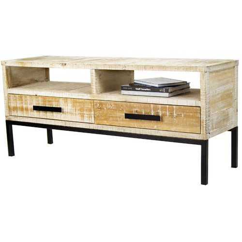 Distressed Wood TV Stand with 2 Shelves and 2 Drawers, and Iron Handles and Legs