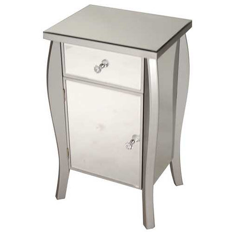 "30.45"" Silver Wood Tall Accent Cabinet with a Mirrored Glass Drawer and Door"