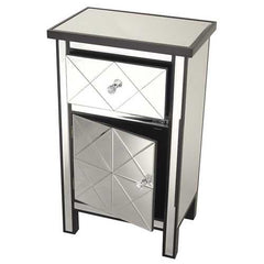 "32.7"" Black Wood Beveled Glass Accent Cabinet with a Drawer and a Door"