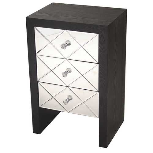 "28"" Black Wood Accent Cabinet with 3 Mirrored Glass Drawers"