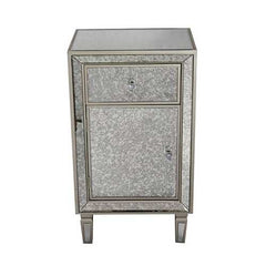 Champagne Wood Accent Cabinet with a Drawer, a Door and Antique Mirror Trim
