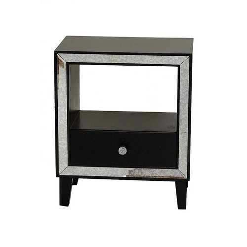 Black Accent Cabinet with a Drawer, an Open Shelf and an Antique Mirrored Frame