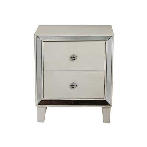 "23.5"" White Wood Accent Cabinet with 2 Drawers and Antique Mirrored Glass"