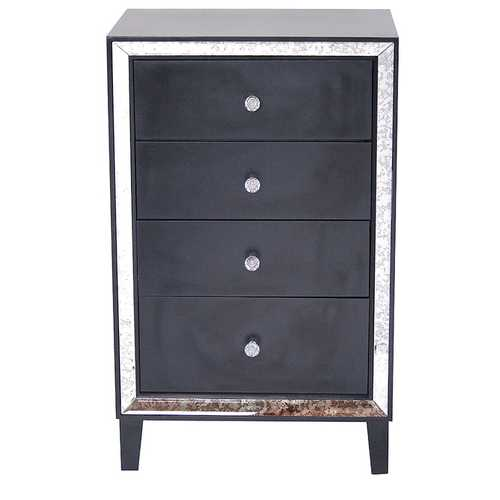 "37.25"" Black Wood Accent Cabinet with 4 Drawers and Antique Mirrored Glass"