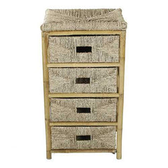 Bamboo Frame Storage Cabinet with 4 Baskets