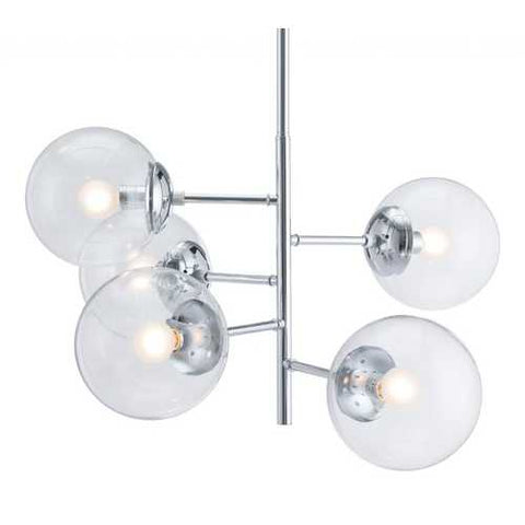"25.6"" x 25.6"" x 63.8"" Chrome, Glass, Metal, Ceiling Lamp"