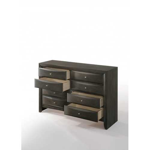 "59"" X 17"" X 41"" Gray Oak Rubber Wood Dresser"