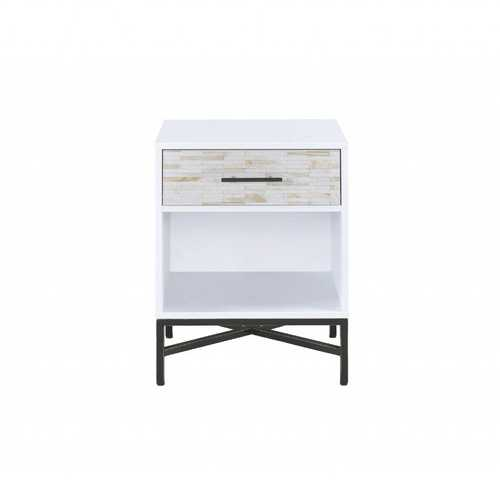 "20"" X 18"" X 26"" White And Black Wooden Nightstand"
