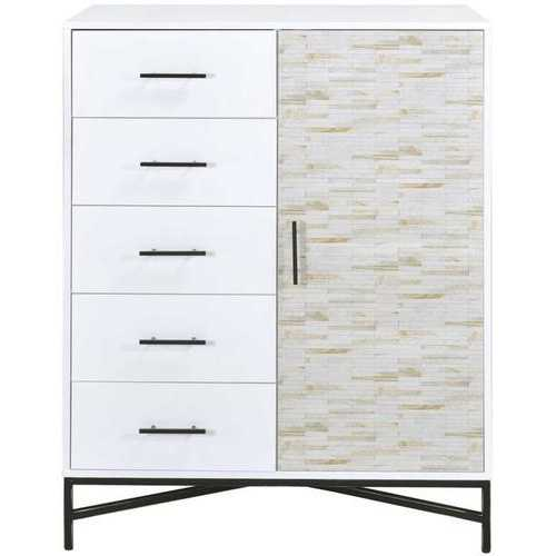 "40"" X 22"" X 52"" White & Weathered Wood Pattern Wardrobe"