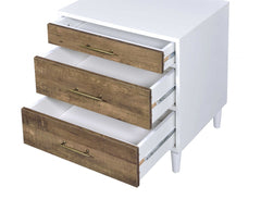 "20"" X 16"" X 21"" White And Weathered Oak Metal Nightstand"
