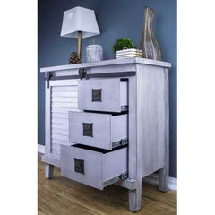 Light Grey Accent Cabinet with 1 Door and 3 Drawers