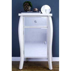 Antique White Mirrored Accent Table with 1 Drawer and 1 Door