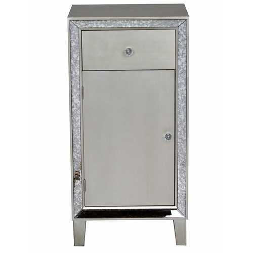 "38"" Accent Cabinet with a Drawer, a Door and Antiqued Mirror Accents"