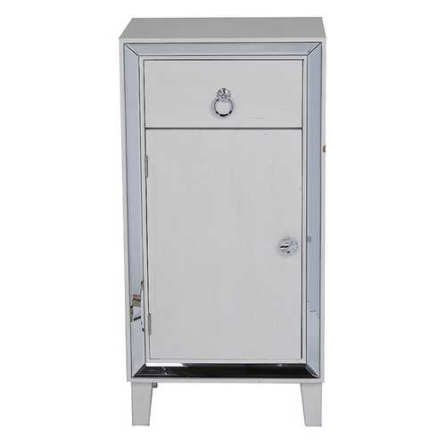 "36"" Antique White Mirrored Accent Cabinet with a Drawer and a Door"