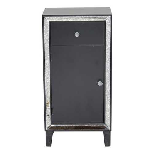 "41.5"" Black Accent Cabinet with a Drawer and a Mirrored Door"