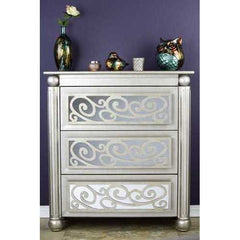 "37"" Antique Silver and Gold Accent Cabinet with 3 drawers and Mirrored Glass"