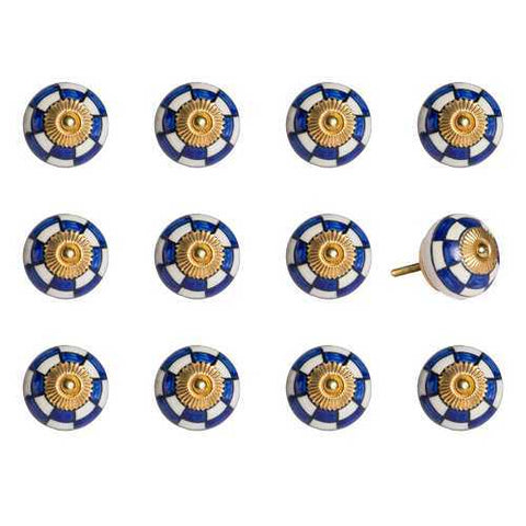 "1.5"" x 1.5"" x 1.5"" White, Blue and Gold - Knobs 12-Pack - Handyman Official Shop"