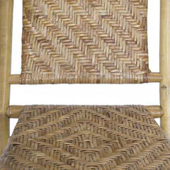"36"" Brown Bamboo Folding Chair with a Rattan Skin Chevron Weave"