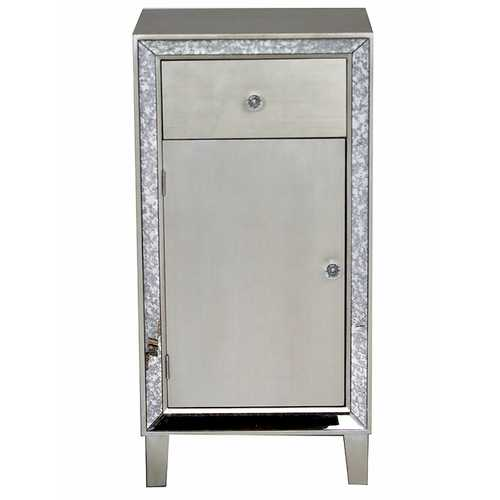 "35.8"" Brown MDF, Wood, and Mirrored Glass Accent Cabinet with a Drawer and Door"