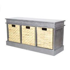 "20"" Grey MDF and Rattan Storage Bench with 3 Baskets"