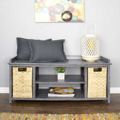 "18"" Grey MDF and Rattan Storage Bench with 2 Baskets"