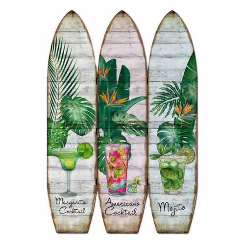 "47"" x 1"" x 71"" Multicolor, Wood, Surfboard - Screen"