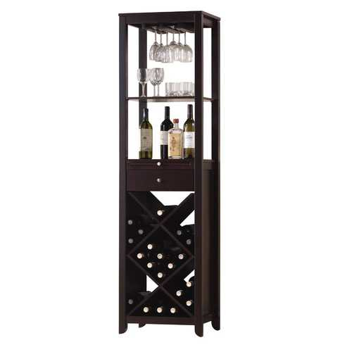 "15"" X 19"" X 69"" Wenge Wood Wine Cabinet"