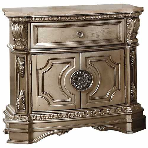 "18"" X 30"" X 29"" Antique Champagne Wood Poly Resin Nightstand w/Marble Top"