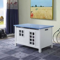 "21"" X 32"" X 21"" White Blue Wood Youth Chest"