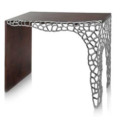 "17.5"" x 43"" x 30"" Brown & Silver Honeycomb - Console Table"